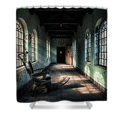Shower Curtain featuring the photograph Dentists Chair In The Corridor by Gary Heller