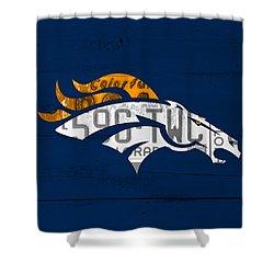 Denver Broncos Football Team Retro Logo Colorado License Plate Art Shower Curtain