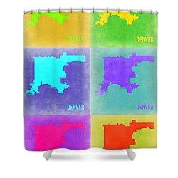 Denver Pop Art Map 3 Shower Curtain by Naxart Studio