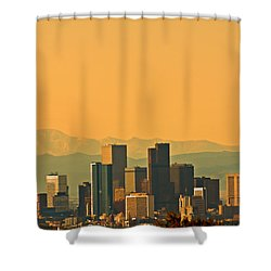 Denver Skyline Shower Curtain by Colleen Coccia
