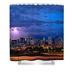 Denver Skyline Shower Curtain by John K Sampson
