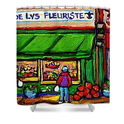 Depanneur Coca Cola Marche Fleuriste Maison De Pain Montreal Street Hockey Scenes Quebec Art  Shower Curtain by Carole Spandau
