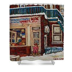 Depanneur Kik Cola Montreal Shower Curtain by Carole Spandau