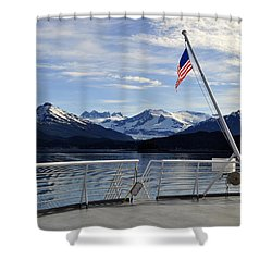 Departing Auke Bay Shower Curtain by Cathy Mahnke