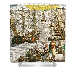 Departure From Lisbon For Brazil Shower Curtain by Theodore de Bry