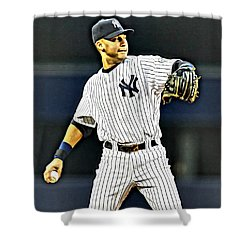 Derek Jeter Shower Curtain by Florian Rodarte