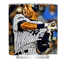 Derek Jeter In Action Shower Curtain by Florian Rodarte