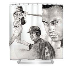 Derek Jeter Shower Curtain by Kathleen Kelly Thompson