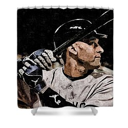Derek Jeter On Canvas Shower Curtain by Florian Rodarte