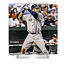 Derek Jeter Painting Shower Curtain