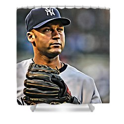 Derek Jeter Portrait Shower Curtain by Florian Rodarte