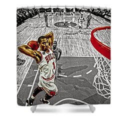 Derrick Rose Took Flight Shower Curtain