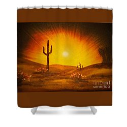 Desert Aglow Shower Curtain by Becky Lupe