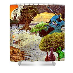Shower Curtain featuring the mixed media Desert Blues by Ally  White