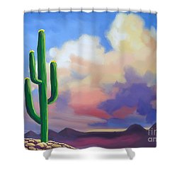 Shower Curtain featuring the painting Desert Cactus At Sunset by Tim Gilliland