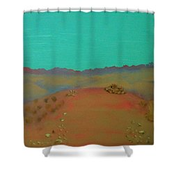 Shower Curtain featuring the painting Desert Overlook by Keith Thue
