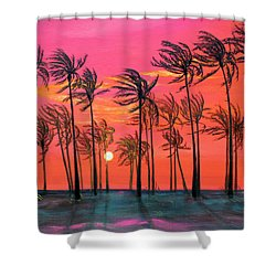 Desert Palm Trees At Sunset Shower Curtain