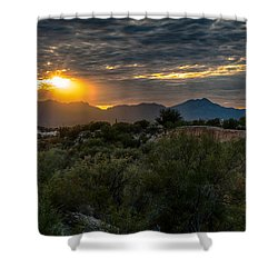 Shower Curtain featuring the photograph Desert Sunset by Dan McManus