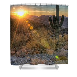 Desert Sunset Shower Curtain by Eddie Yerkish