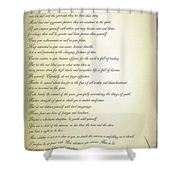 Desiderata 2 Shower Curtain by Teresa Zieba