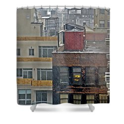 Shower Curtain featuring the photograph Desk Lamp Through Lit Window by Lilliana Mendez