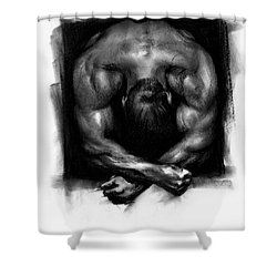 Shower Curtain featuring the drawing Despondent by Paul Davenport