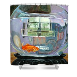 detail fish bowl of Fishing Shower Curtain