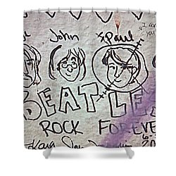 Detail Of Graffiti On Abbey Road Sign Shower Curtain by George Pedro
