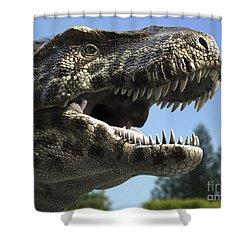 Detailed Headshot Of Tyrannosaurus Rex Shower Curtain by Rodolfo Nogueira