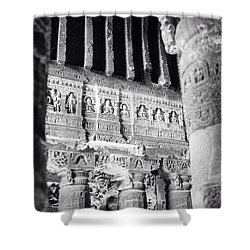 Details Of Carvings In Ajanta Caves Shower Curtain