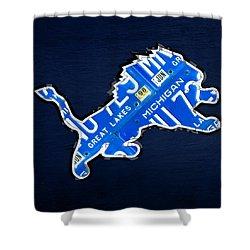 Detroit Lions Football Team Retro Logo License Plate Art Shower Curtain