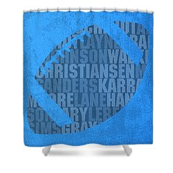 Detroit Lions Football Team Typography Famous Player Names On Canvas Shower Curtain by Design Turnpike