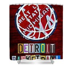 Detroit Pistons Basketball Vintage License Plate Art Shower Curtain by Design Turnpike