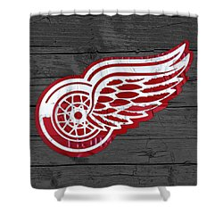 Detroit Red Wings Recycled Vintage Michigan License Plate Fan Art On Distressed Wood Shower Curtain by Design Turnpike