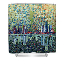 Detroit Skyline Abstract 3 Shower Curtain
