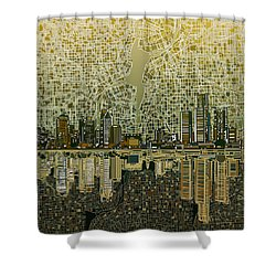 Detroit Skyline Abstract 4 Shower Curtain by Bekim Art