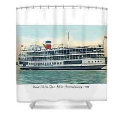 Detroit - Ss Sainte Claire - Boblo - Browning Steamship - 1938 Shower Curtain