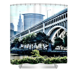 Shower Curtain featuring the photograph Detroit-superior Bridge - Cleveland Ohio - 1 by Mark Madere