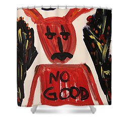 Shower Curtain featuring the painting devil with NO GOOD tee shirt by Mary Carol Williams