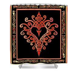 Shower Curtain featuring the digital art Devil's Heart by Vagabond Folk Art - Virginia Vivier