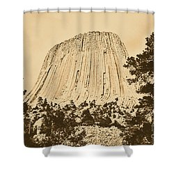 Devils Tower National Monument Between Trees Wyoming Usa Rustic Shower Curtain by Shawn O'Brien