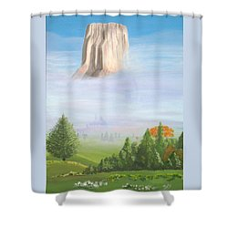 Shower Curtain featuring the painting Devil's Tower  by Phyllis Kaltenbach
