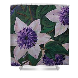 Shower Curtain featuring the painting Clematis After The Rain by Sharon Duguay