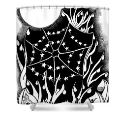 Shower Curtain featuring the digital art Dewdrop Stars by Carol Jacobs