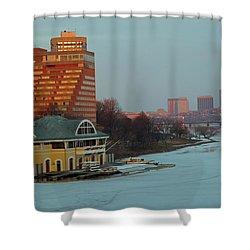 Dewolfe Boathouse Riverside Shower Curtain by Barbara McDevitt
