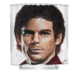 Shower Curtain featuring the painting Dexter by Oddball Art Co by Lizzy Love