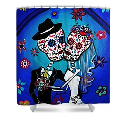 Dia De Los Muertos Kiss The Bride Shower Curtain