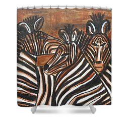 Zebra Bar Crowd Shower Curtain by Diane Pape