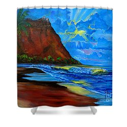 Diamond Head Blue Shower Curtain