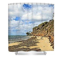 Diamond Head Lighthouse Shower Curtain by DJ Florek